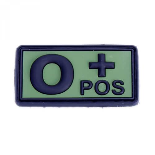Rubberpatch Blutgruppe AB+/O+ positiv oliv