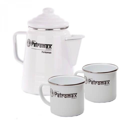 Petromax Perkolator + Tassen im SET weiß