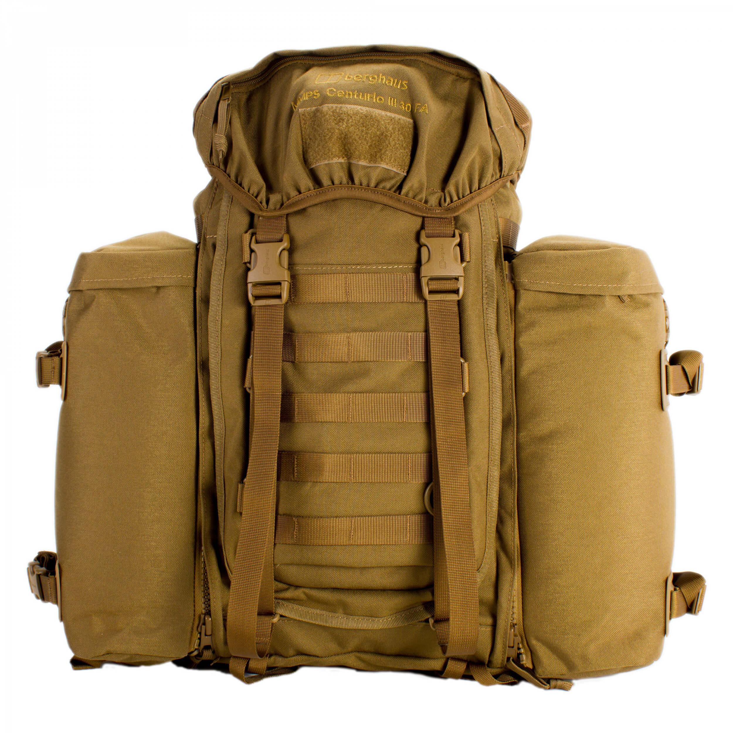 berghaus MMPS Centurio 30 III earth-brown Frontloader + MMPS Seitentaschen Bundle