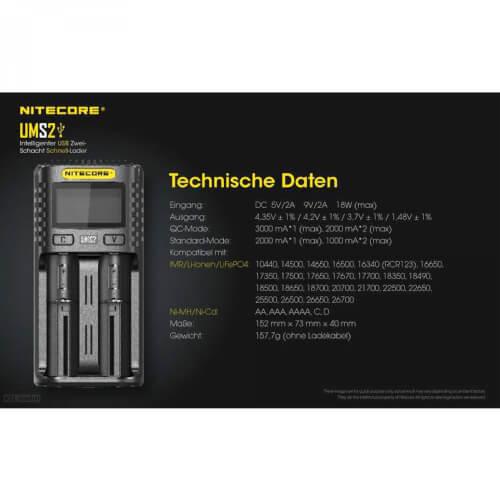 NiteCore UMS2 USB-Schnell-Ladegerät