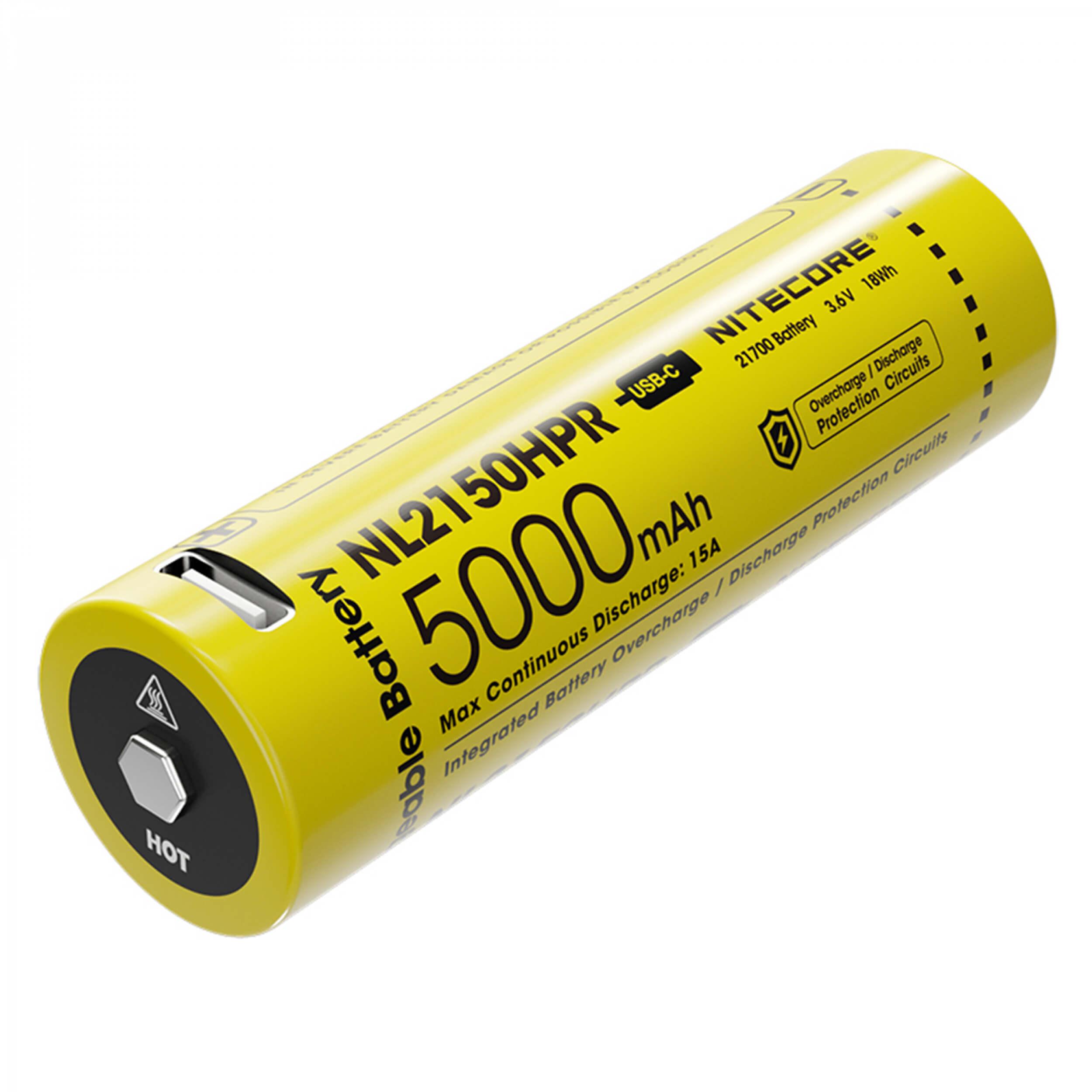 Nitecore Li-Ion Akku 21700, 5000mAh, NL2150HPR USB
